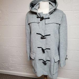 Burberry Gray Wool Duffle Toogle Coat